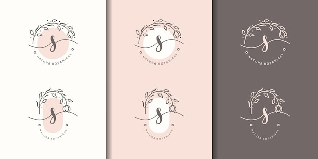 Feminime litera sz szablon logo kwiatowy ramki