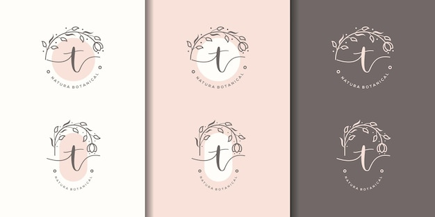 Feminime litera tz szablon logo kwiatowy ramki