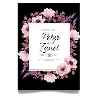 Feminine floral wedding cyfrowy imprez karta zaproszenie edytowany szablon