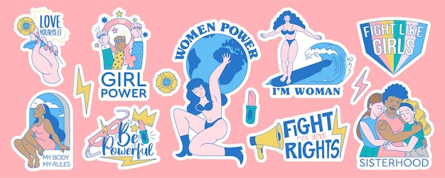 Feministka i body pozytywny zestaw kolekcja wzorów odznak naklejek. ilustracja kreskówka kobiece ruchy z inspirujących cytatów. wsparcie energetyczne kobiet i dziewcząt. modne znaki hipster.