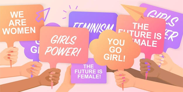 Feministki wspierające równość płci pokojowym wiecemgirls powertłum ludzi protestujących o swoje prawatrzymanie w rękach plakatów trzymając w ręku plakat protestacyjny demonstracja protestu na rzecz wolności