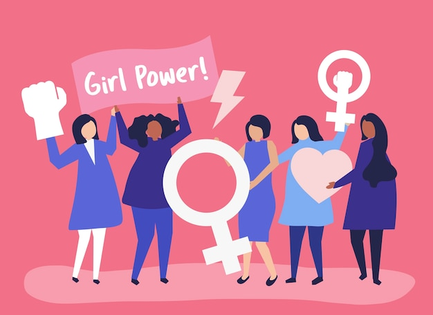 Feministki wspierające równouprawnienie płci w pokojowym wiecu