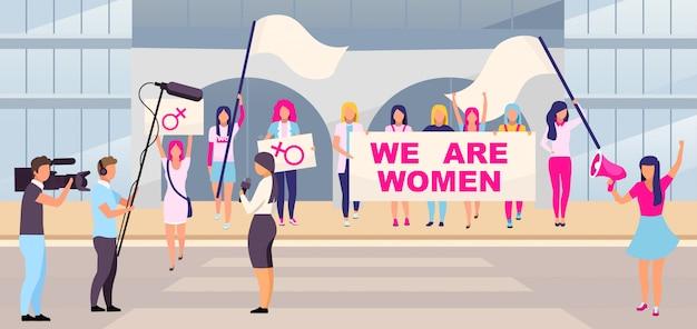 Feministyczna protest protestacyjnej akcji płaska wektorowa ilustracja
