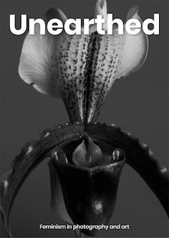 Feministyczny szablon plakatu z kwiatem
