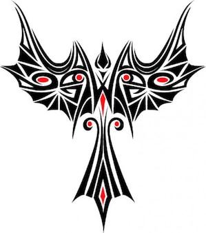 Feniks tatuaż szablon vector icon