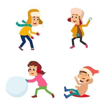 Ferie. dzieci bawią się na śniegu, rzeźbią bałwana, sanki i grają w inne gry w śnieżny dzień. zestaw