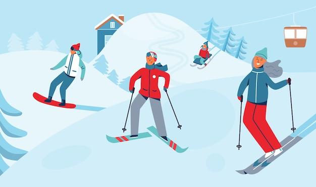 Ferie zimowe rekreacja zajęcia sportowe. krajobraz ośrodka narciarskiego z postaciami na nartach i snowboardzie. szczęśliwi ludzie jadący na śnieżnym zjeździe.