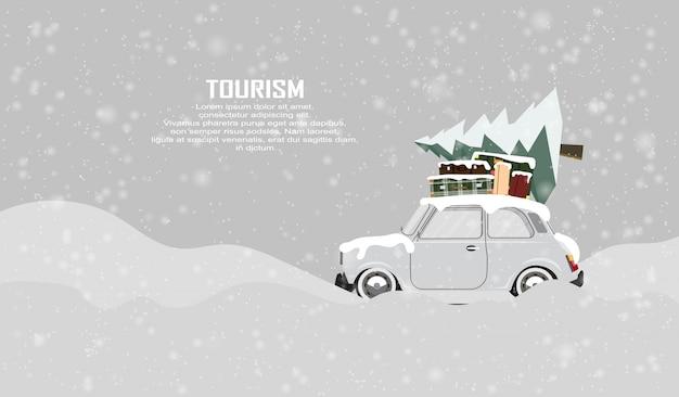 Ferie zimowe samochodem. wycieczka na zimowe wakacje w górach, w lesie.