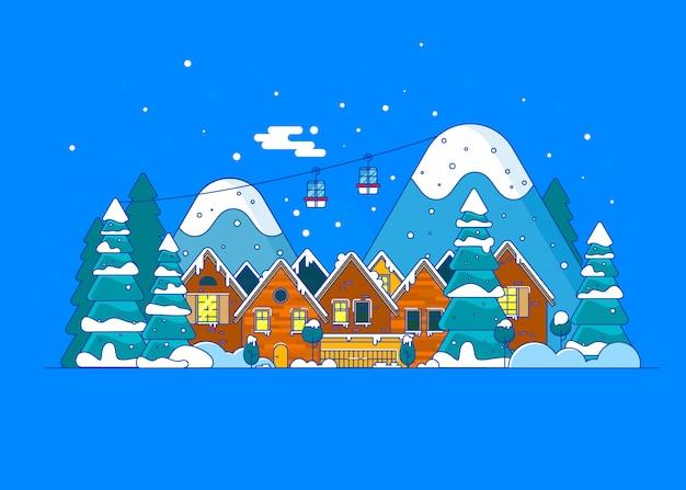 Ferie zimowe w górach koncepcja banner
