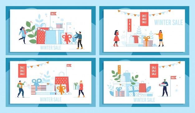 Ferie zimowe wyprzedaż promocja rynku zestaw plakatów