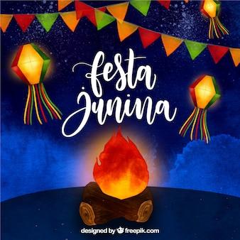 Festa junina akwareli tło z ogniskiem