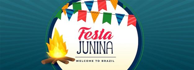 Festa junina banner festiwalu ogniska