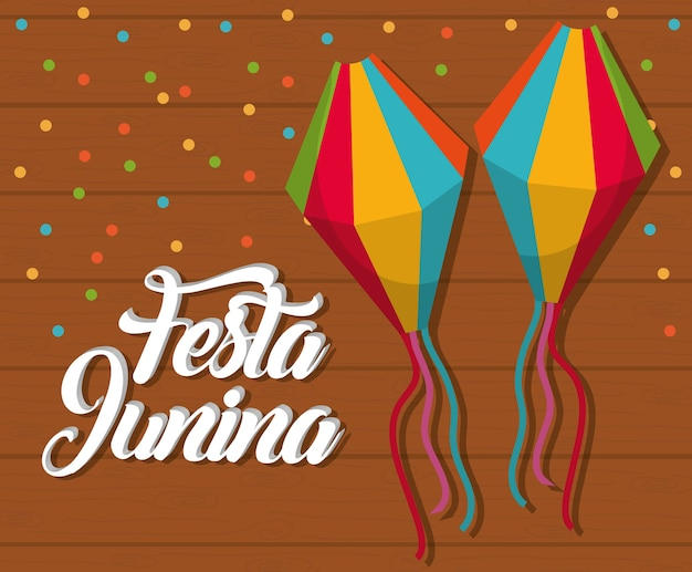 Festa junina card with decorative objects icons