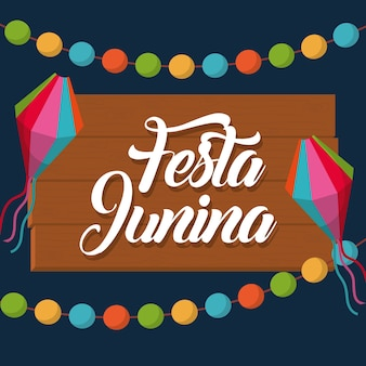 Festa junina card with decorative objects