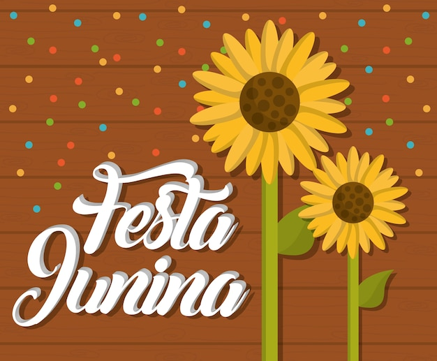Festa junina card with sunflowers icon