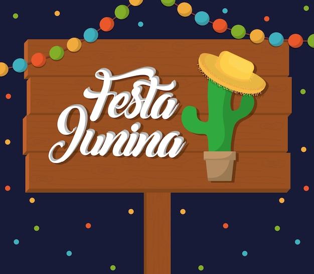 Festa junina card z ikoną kaktusa i kapelusza