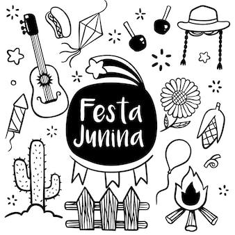 Festa junina festiwal ręcznie rysowane w stylu doodle