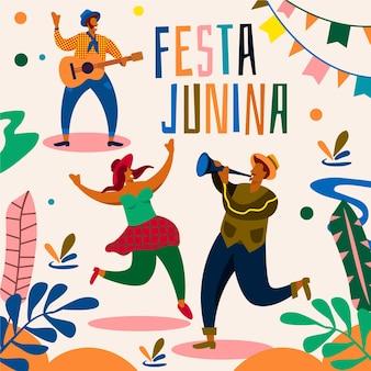 Festa junina impreza ilustrowana koncepcja