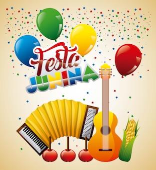 Festa junina kartkę z życzeniami muzyka jabłka i kolby kukurydzy