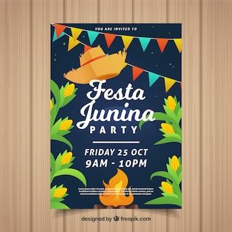 Festa junina plakat z tradycyjnymi elementami