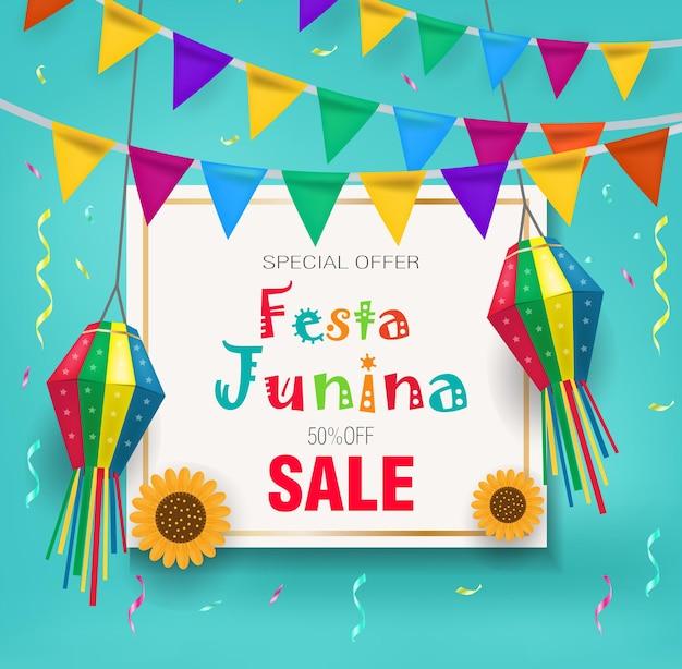 Festa junina promocyjna wyprzedaż z rabatem. szablon festiwalu brazylijskiej ameryki łacińskiej