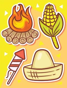 Festa junina słodkie ręcznie rysowane obiekty naklejki
