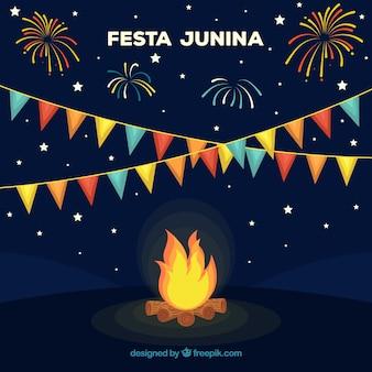 Festa junina tła projekt z ogniskiem
