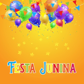 Festa junina tło z balonami, confetti i sztandarami