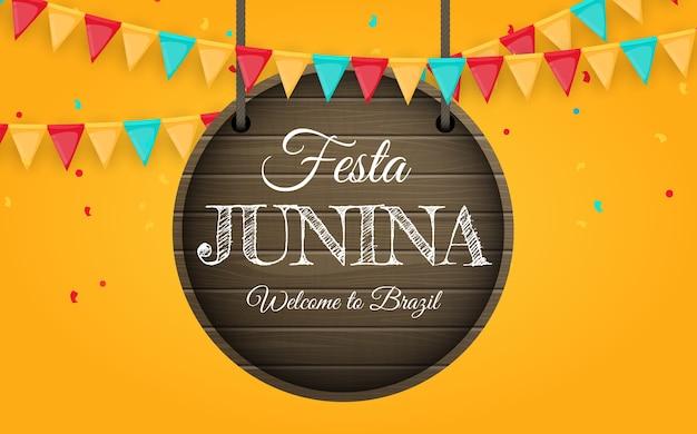 Festa junina tło z flagami partii. brazylia czerwca festiwal tło dla karty z pozdrowieniami, zaproszenie na wakacje.