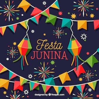 Festa junina tło z kolorowymi fajerwerkami