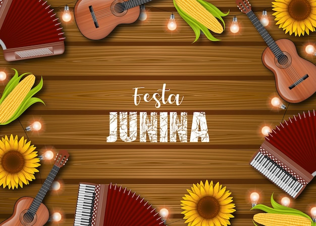 Festa junina tło z kukurydzą, kolbami, słonecznikami, akordeonami, gitarami i żarówkami