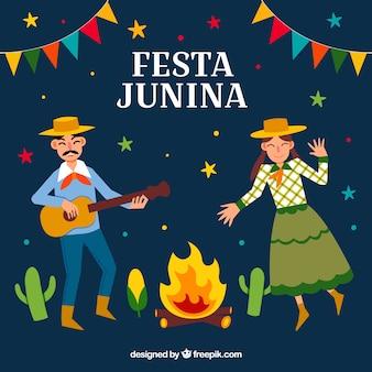 Festa junina tło z ludźmi tanczącymi i bawić się