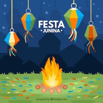 Festa junina tło z ogniskiem