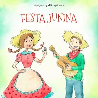Festa junina tło z ręka rysującą parą