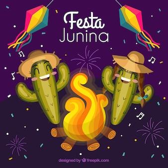 Festa junina tło z śmiesznym kaktusem