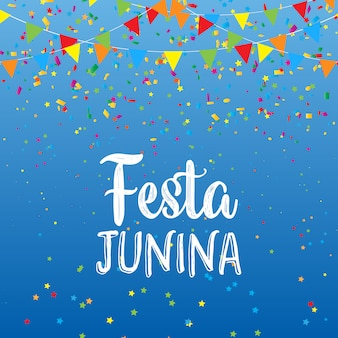 Festa junina tło z sztandarami i confetti