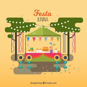 Festa junina tło z tradycyjnym kioskiem