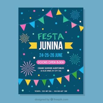Festa junina ulotka z tradycyjnymi elementami