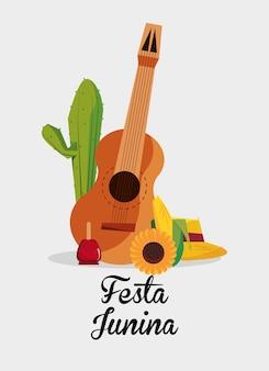 Festa junina z gitarą i powiązanymi ikonami nad białym tłem