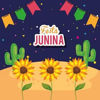 Festa junina z słonecznikami i dekoracją, brazylia czerwca festiwal ilustracji