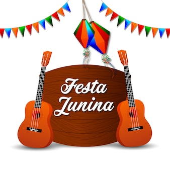 Festa junina zaproszenia z gitarą i papierową latarnią na białym tle