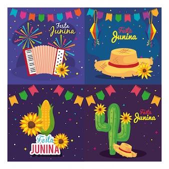 Festa junina zestaw kart, festiwal brazylia czerwca z ilustracją dekoracji
