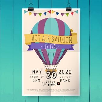 Festiwal balonów na ogrzane powietrze. plakat festiwalu lub szablon ulotki. ilustracja.