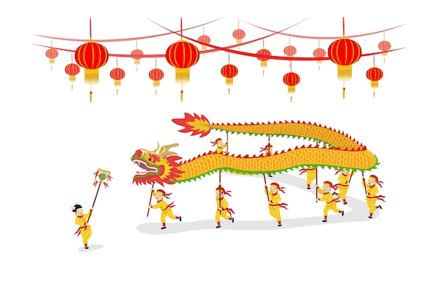 Festiwal chiński nowy rok dragon dancing show i ozdobiony latarniami.
