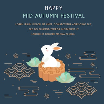 Festiwal chuseok / hangawi. festiwal w połowie jesieni z królikiem i elementami abstrakcyjnymi.