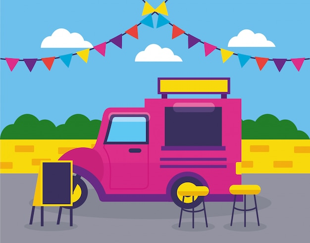 Festiwal ciężarówek spożywczych płaska konstrukcja