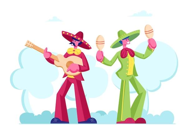 Festiwal cinco de mayo z grupą meksykańskich mężczyzn w kolorowych strojach i sombrero grających na gitarze i marakasach z okazji narodowego święta muzyki ludowej. płaskie ilustracja kreskówka