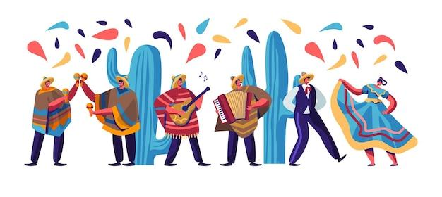 Festiwal cinco de mayo z meksykanami w kolorowych tradycyjnych strojach, muzykami z gitarą, płaska ilustracja kreskówka
