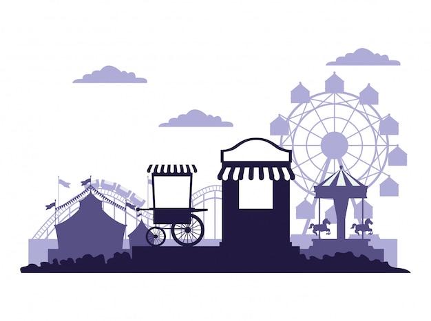 Festiwal cyrkowy w jasnych kolorach niebieskim i białym