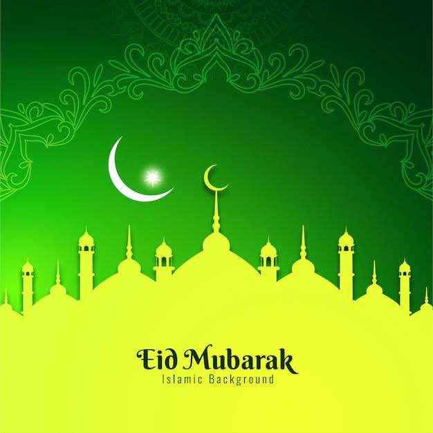 Festiwal eid mubarak pozdrowienie zielone tło